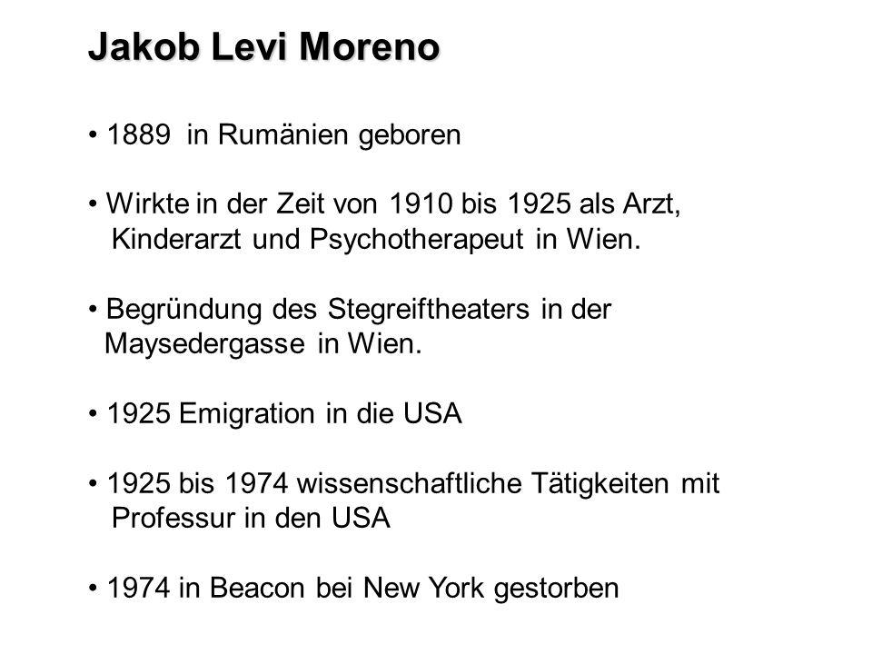 Jakob Levi Moreno 1889 in Rumänien geboren Wirkte in der Zeit von 1910 bis 1925 als Arzt, Kinderarzt und Psychotherapeut in Wien. Begründung des Stegr
