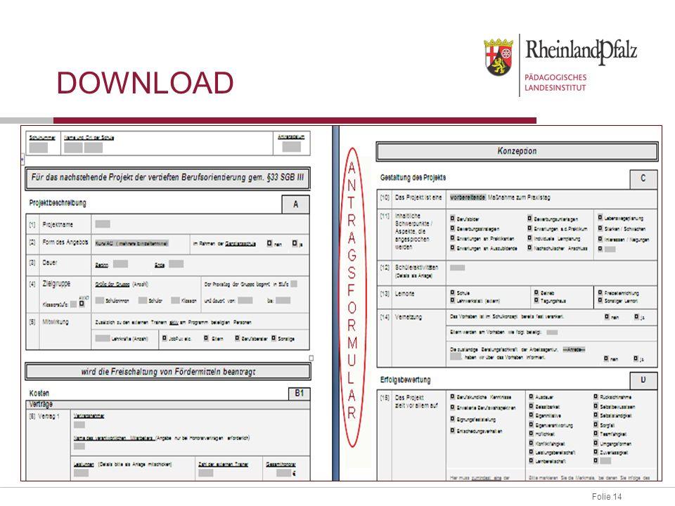 Folie 14 Antragsformular downloaden und ausfüllen.