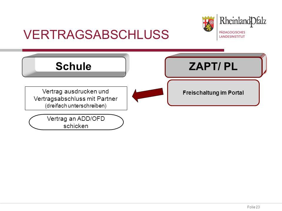Folie 23 Vertrag ausdrucken und Vertragsabschluss mit Partner (dreifach unterschreiben) Vertrag an ADD/OFD schicken Freischaltung im Portal Schule ZAPT/ PL VERTRAGSABSCHLUSS