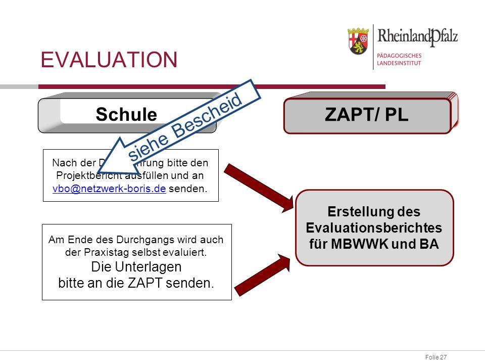 Folie 27 EVALUATION Schule ZAPT/ PL Nach der Durchführung bitte den Projektbericht ausfüllen und an vbo@netzwerk-boris.de senden.