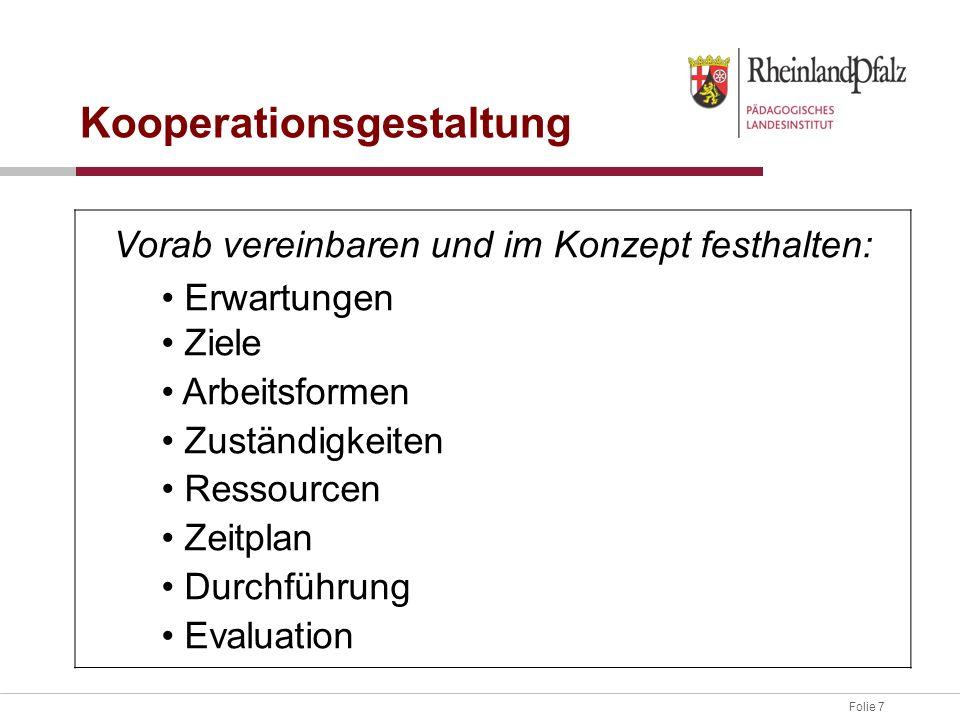 Folie 7 Kooperationsgestaltung Vorab vereinbaren und im Konzept festhalten: Erwartungen Ziele Arbeitsformen Zuständigkeiten Ressourcen Zeitplan Durchführung Evaluation