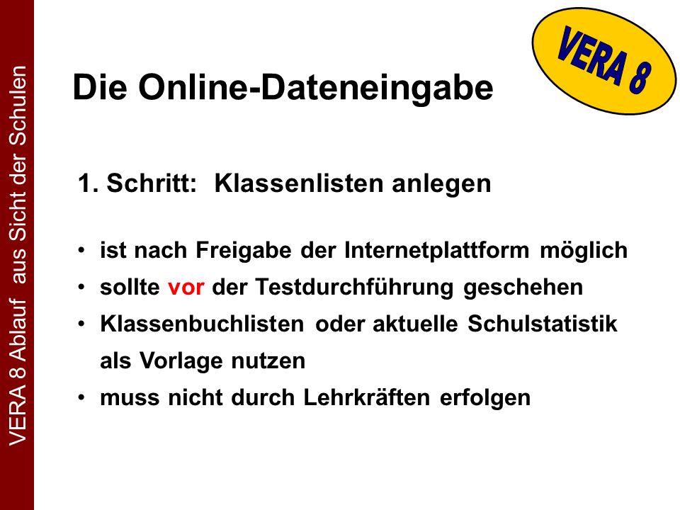 Die Online-Dateneingabe 1.