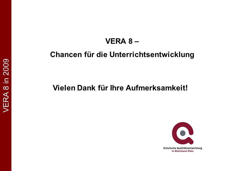 Vielen Dank für Ihre Aufmerksamkeit! VERA 8 in 2009 VERA 8 – Chancen für die Unterrichtsentwicklung