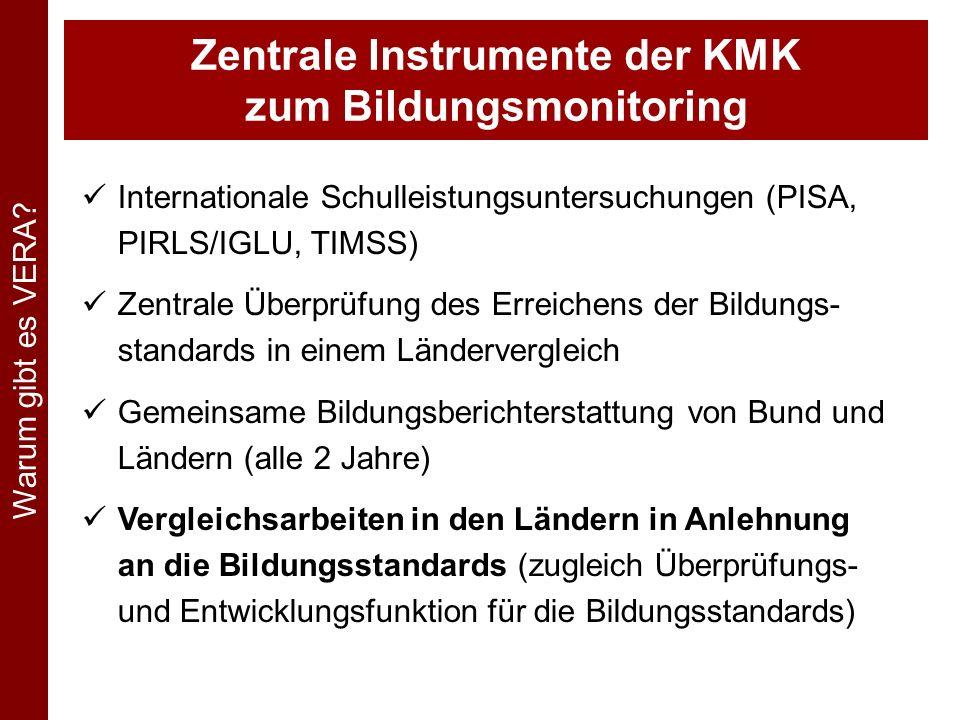 Kooperation zur Durchführung länderübergreifender Vergleichsarbeiten Für die Primarstufe (VERA 3) liegt die Federführung bei Bayern und Rheinland-Pfalz, beteiligt sind alle 16 Länder.