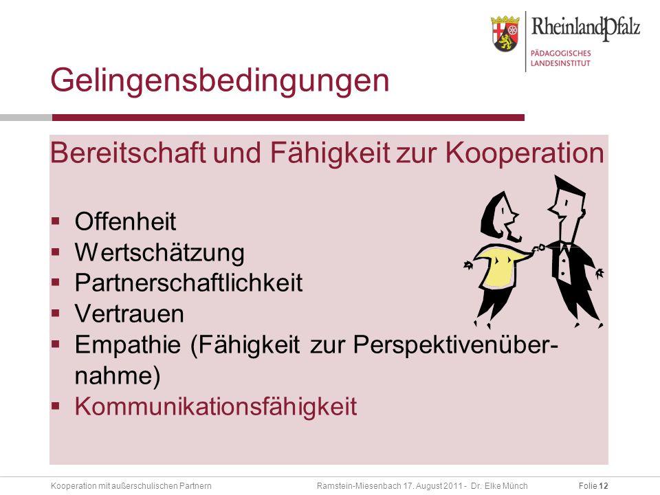 Folie 12Kooperation mit außerschulischen Partnern Ramstein-Miesenbach 17.