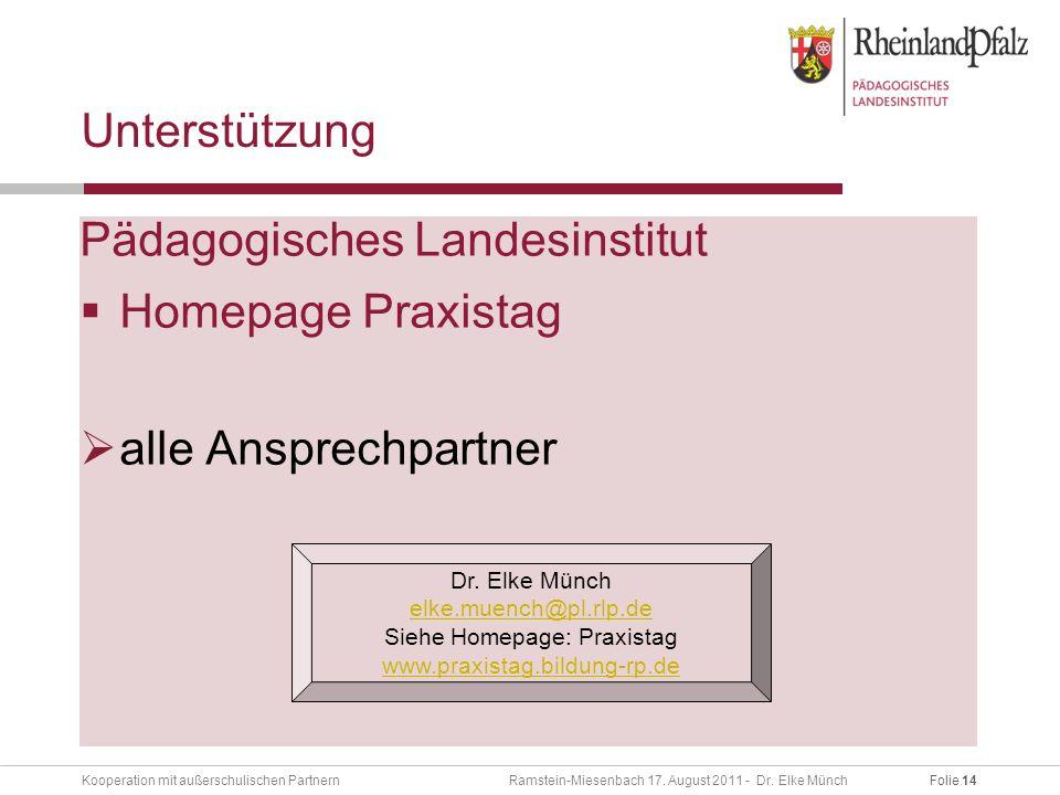 Folie 14Kooperation mit außerschulischen Partnern Ramstein-Miesenbach 17.