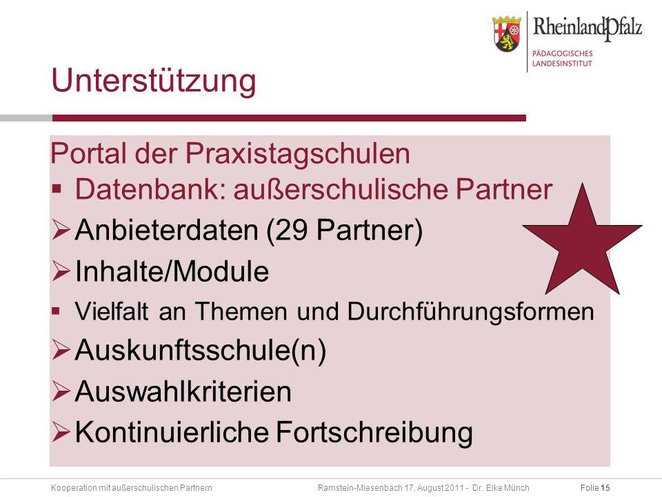 Folie 15Kooperation mit außerschulischen Partnern Ramstein-Miesenbach 17.