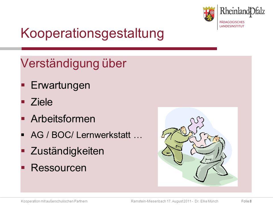Folie 8Kooperation mit außerschulischen Partnern Ramstein-Miesenbach 17.