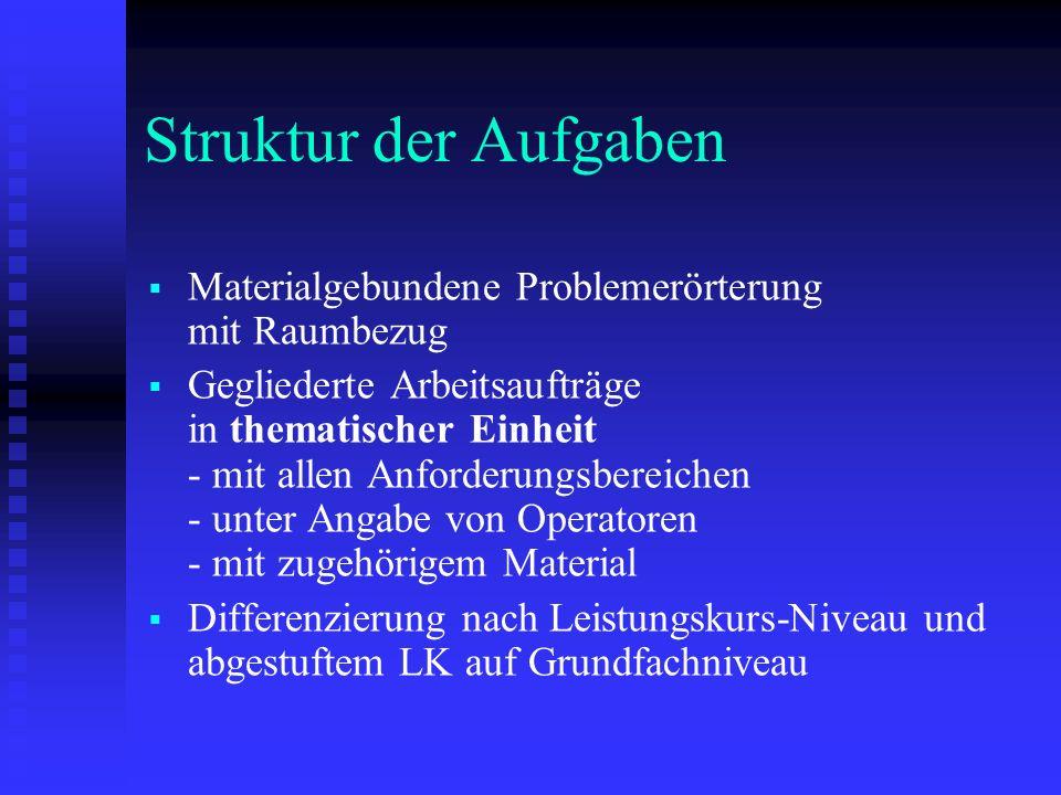 Struktur der Aufgaben Materialgebundene Problemerörterung mit Raumbezug Gegliederte Arbeitsaufträge in thematischer Einheit - mit allen Anforderungsbe