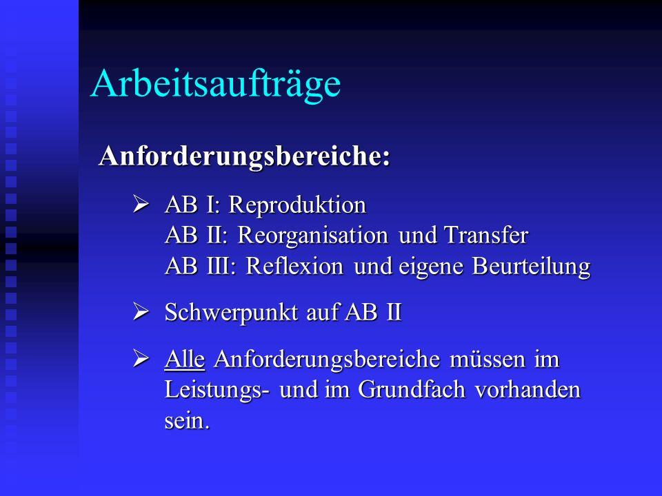 Arbeitsaufträge Anforderungsbereiche: AB I: Reproduktion AB II: Reorganisation und Transfer AB III: Reflexion und eigene Beurteilung AB I: Reproduktio