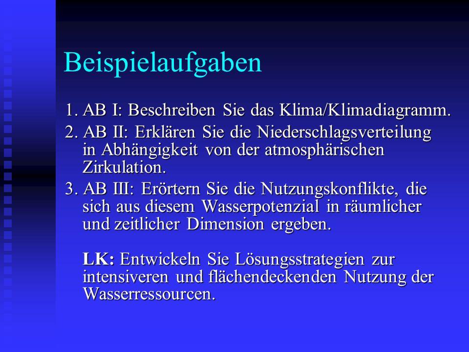 Beispielaufgaben 1. AB I: Beschreiben Sie das Klima/Klimadiagramm. 2. AB II: Erklären Sie die Niederschlagsverteilung in Abhängigkeit von der atmosphä