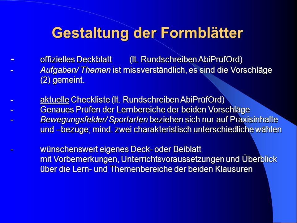 Gestaltung der Formblätter - offizielles Deckblatt(lt.