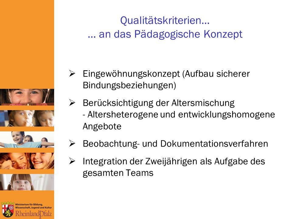 Qualitätskriterien… … an das Pädagogische Konzept Eingewöhnungskonzept (Aufbau sicherer Bindungsbeziehungen) Berücksichtigung der Altersmischung - Altersheterogene und entwicklungshomogene Angebote Beobachtung- und Dokumentationsverfahren Integration der Zweijährigen als Aufgabe des gesamten Teams