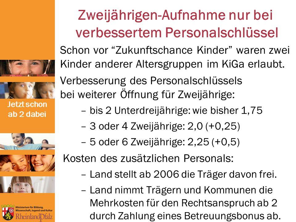 Jetzt schon ab 2 dabei - 15.906 Plätze für unter Dreijährige (Stand 8/2008)