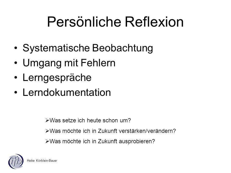Heike Körblein-Bauer Persönliche Reflexion Systematische Beobachtung Umgang mit Fehlern Lerngespräche Lerndokumentation Was setze ich heute schon um?