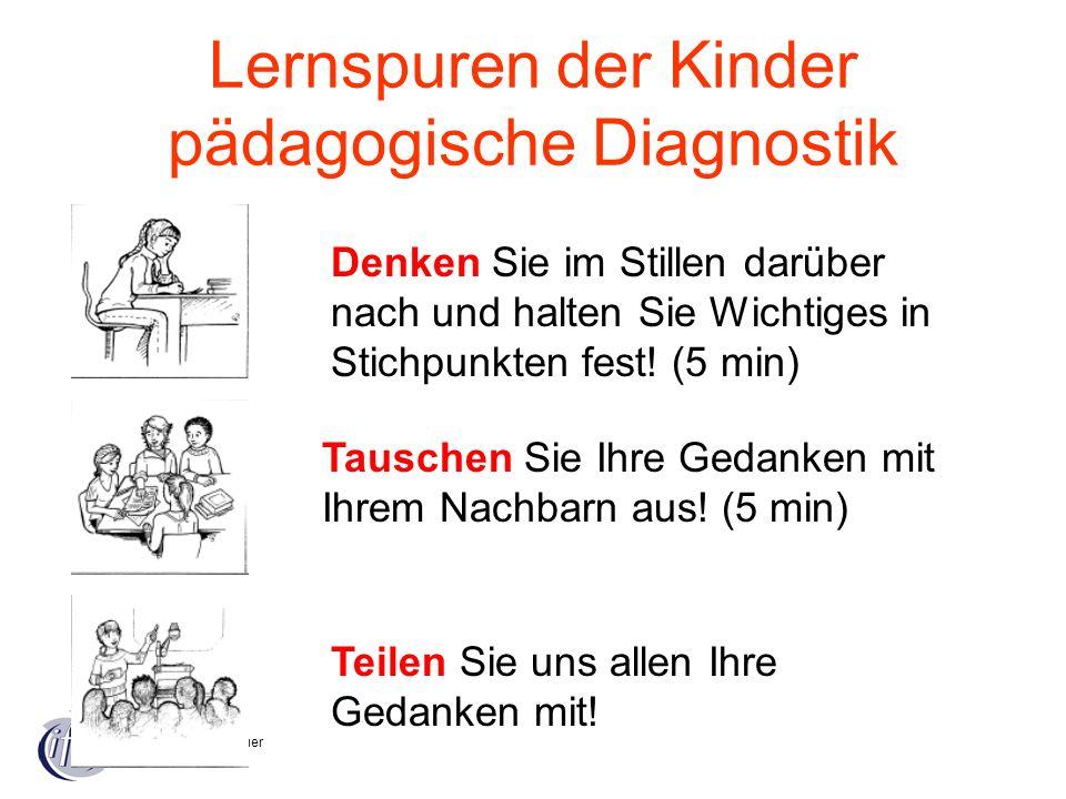 Heike Körblein-Bauer Lernspuren der Kinder pädagogische Diagnostik Denken Sie im Stillen darüber nach und halten Sie Wichtiges in Stichpunkten fest! (