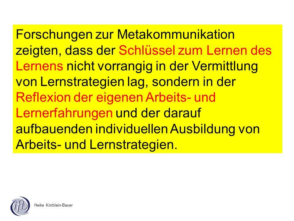 Heike Körblein-Bauer Forschungen zur Metakommunikation zeigten, dass der Schlüssel zum Lernen des Lernens nicht vorrangig in der Vermittlung von Lerns