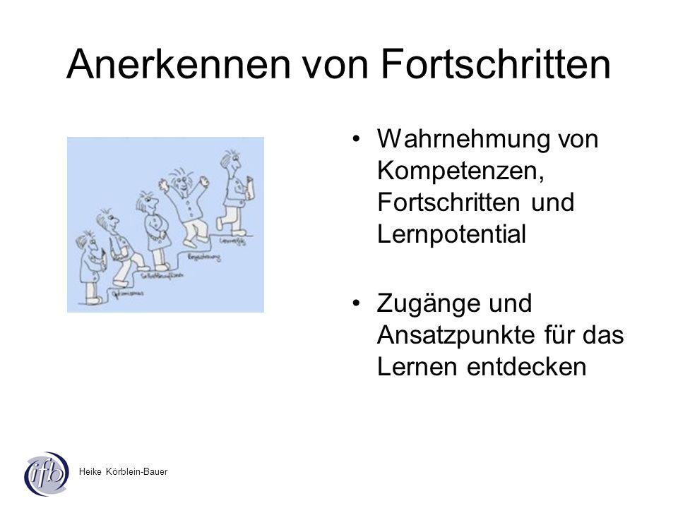 Heike Körblein-Bauer Anerkennen von Fortschritten Wahrnehmung von Kompetenzen, Fortschritten und Lernpotential Zugänge und Ansatzpunkte für das Lernen