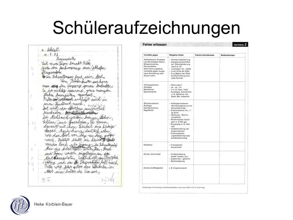 Heike Körblein-Bauer Schüleraufzeichnungen