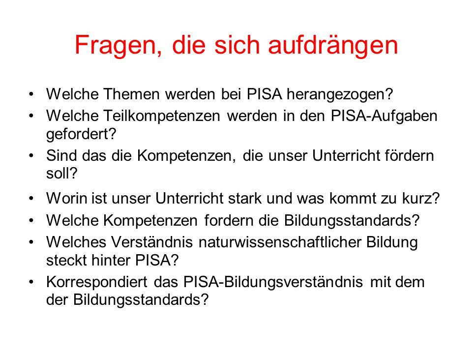 Fragen, die sich aufdrängen Welche Themen werden bei PISA herangezogen.