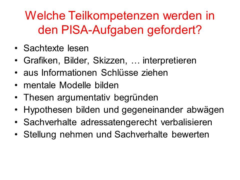 Welche Teilkompetenzen werden in den PISA-Aufgaben gefordert? Sachtexte lesen Grafiken, Bilder, Skizzen, … interpretieren aus Informationen Schlüsse z