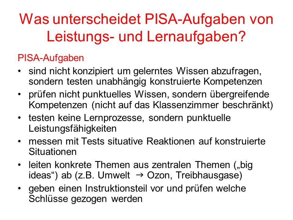 Was unterscheidet PISA-Aufgaben von Leistungs- und Lernaufgaben? PISA-Aufgaben sind nicht konzipiert um gelerntes Wissen abzufragen, sondern testen un
