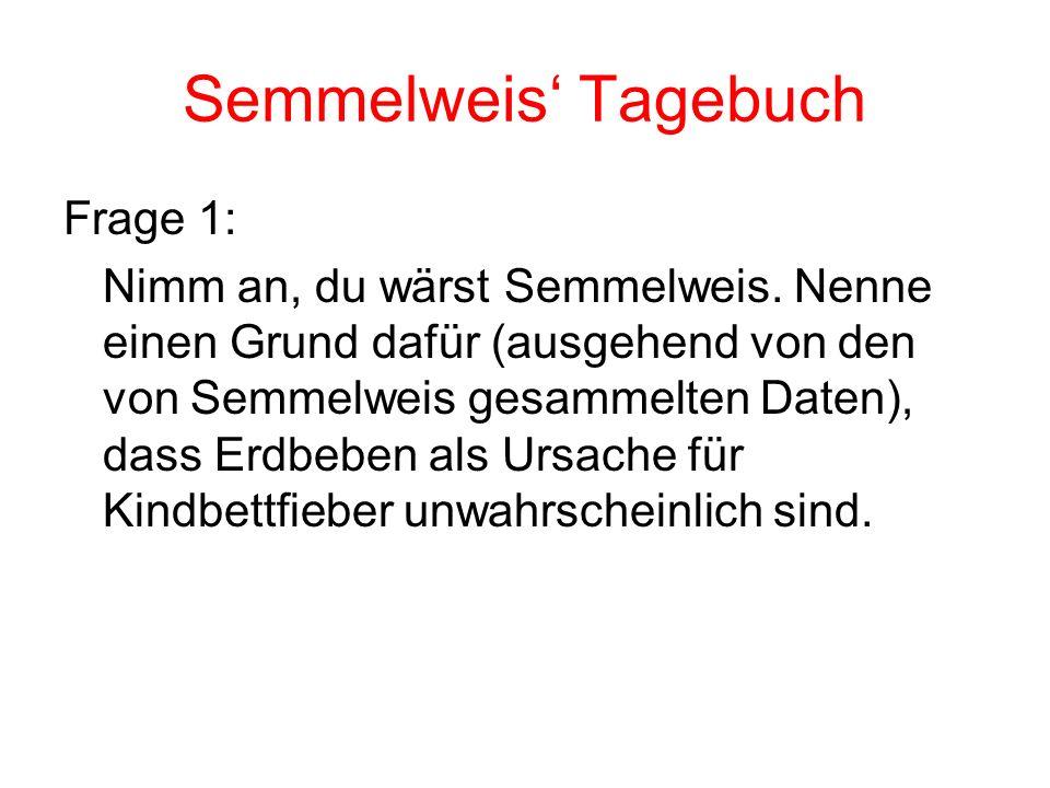 Semmelweis Tagebuch Frage 1: Nimm an, du wärst Semmelweis. Nenne einen Grund dafür (ausgehend von den von Semmelweis gesammelten Daten), dass Erdbeben