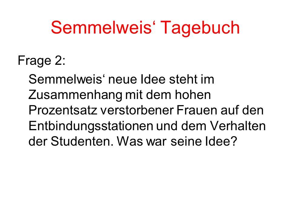 Semmelweis Tagebuch Frage 2: Semmelweis neue Idee steht im Zusammenhang mit dem hohen Prozentsatz verstorbener Frauen auf den Entbindungsstationen und dem Verhalten der Studenten.