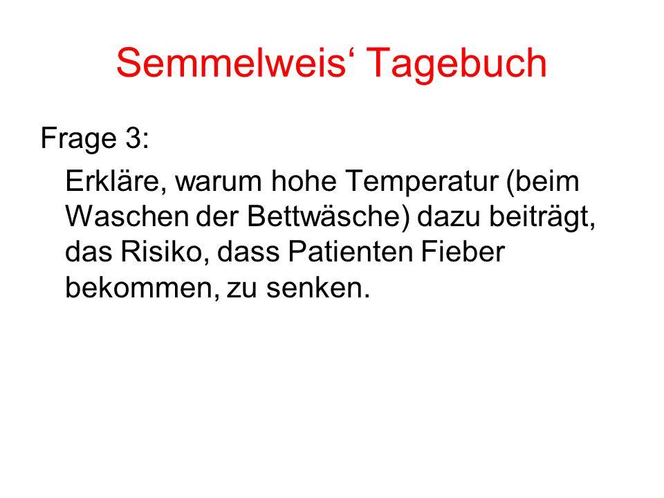 Semmelweis Tagebuch Frage 3: Erkläre, warum hohe Temperatur (beim Waschen der Bettwäsche) dazu beiträgt, das Risiko, dass Patienten Fieber bekommen, z