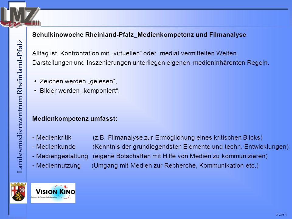 Landesmedienzentrum Rheinland-Pfalz Folie 4 Schulkinowoche Rheinland-Pfalz_Medienkompetenz und Filmanalyse Alltag ist Konfrontation mit virtuellen oder medial vermittelten Welten.