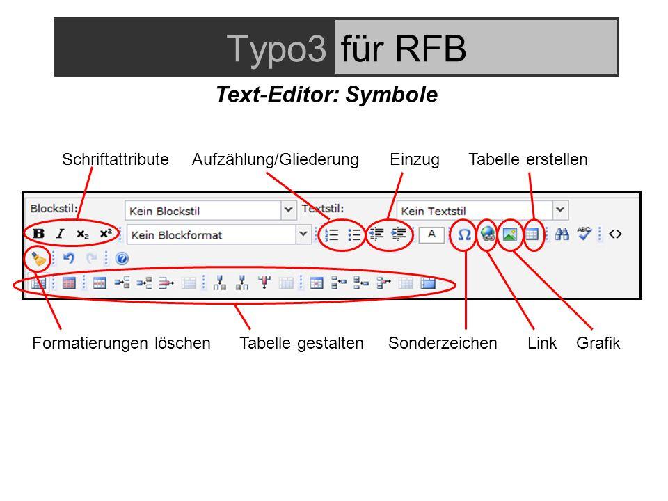 Typo3für RFB Text-Editor: Symbole Schriftattribute Aufzählung/GliederungEinzug Tabelle erstellen Formatierungen löschen Tabelle gestalten Sonderzeichen Link Grafik