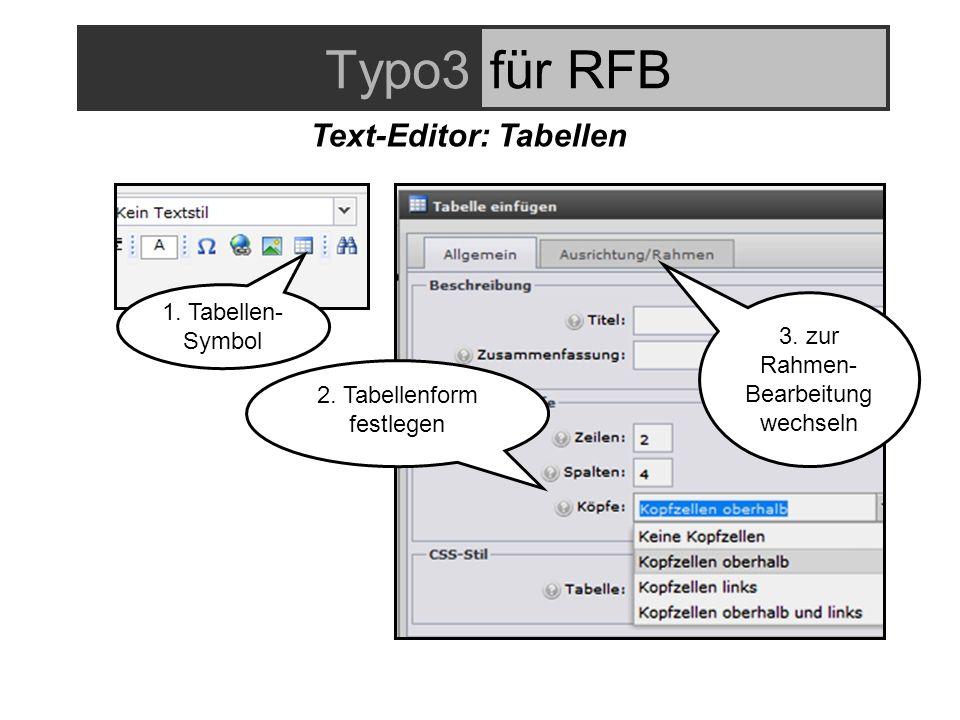 Typo3für RFB Text-Editor: Tabellen 2. Tabellenform festlegen 1.