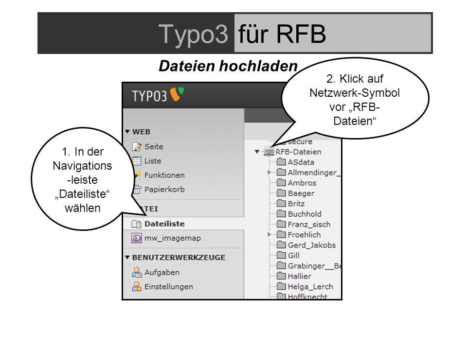 Typo3für RFB 2. Klick auf Netzwerk-Symbol vor RFB- Dateien 1.