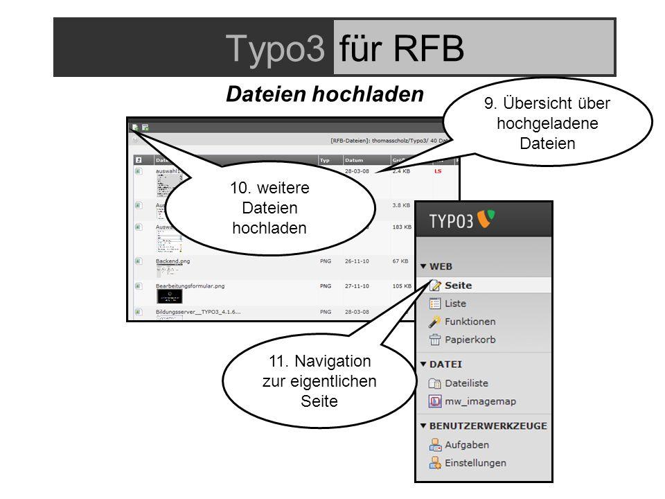 Typo3für RFB Dateien hochladen 9. Übersicht über hochgeladene Dateien 10.