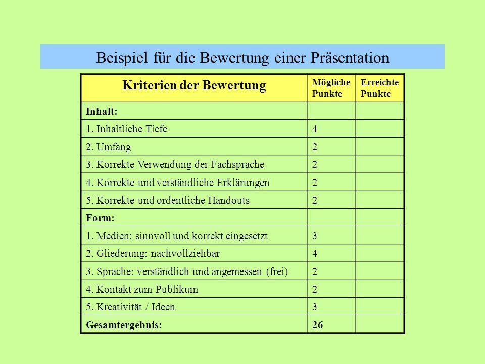 Beispiel für die Bewertung einer Präsentation Kriterien der Bewertung Mögliche Punkte Erreichte Punkte Inhalt: 1.