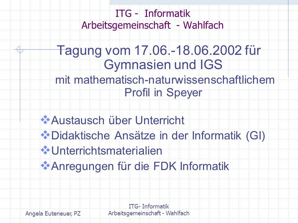Angela Euteneuer, PZ ITG- Informatik Arbeitsgemeinschaft - Wahlfach ITG - Informatik Arbeitsgemeinschaft - Wahlfach Tagung zum Thema Datenbanken ursprünglich für 23.06.03 geplant, wegen zu geringer Anmeldezahlen auf verschoben.