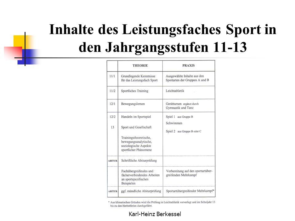 Karl-Heinz Berkessel Inhalte des Leistungsfaches Sport in den Jahrgangsstufen 11-13