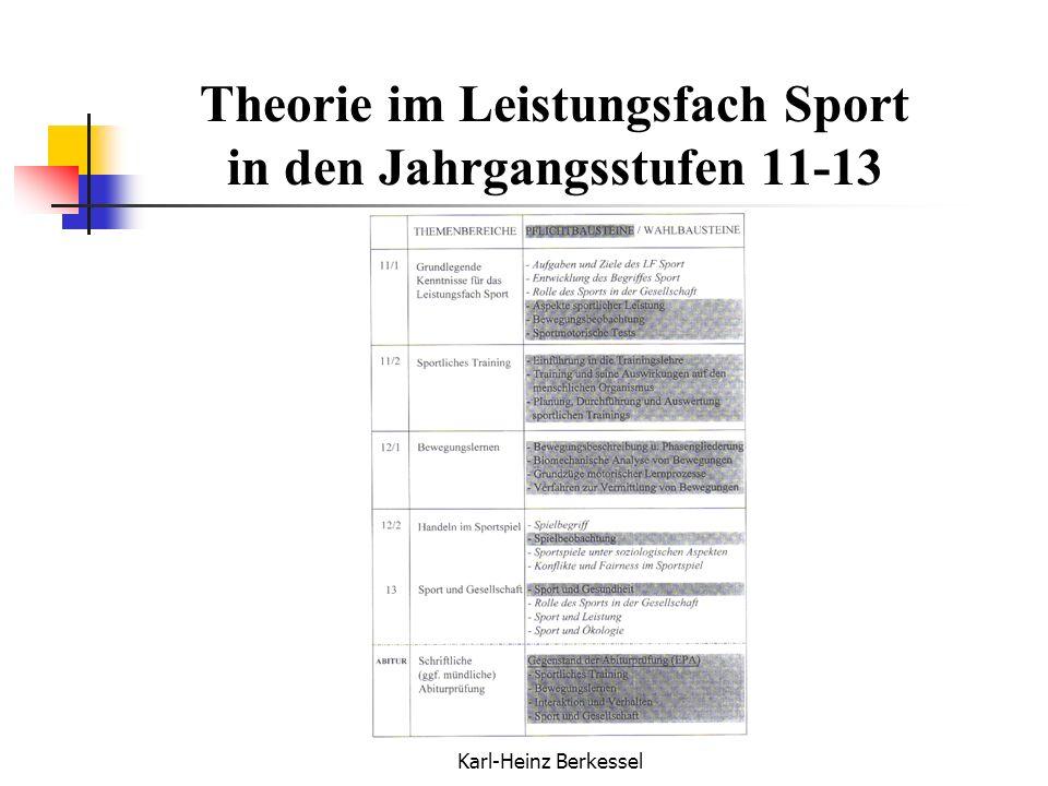 Karl-Heinz Berkessel Theorie im Leistungsfach Sport in den Jahrgangsstufen 11-13