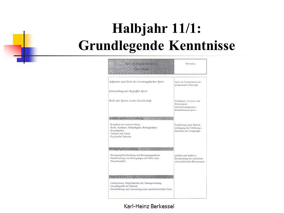 Karl-Heinz Berkessel Halbjahr 11/1: Grundlegende Kenntnisse