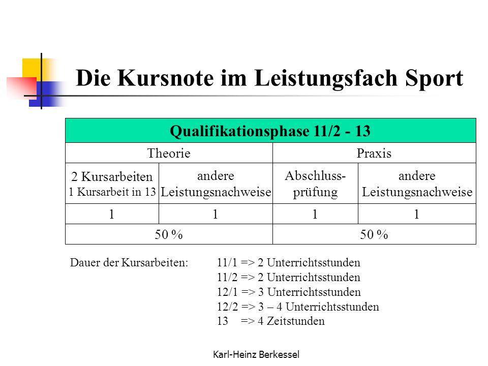 Karl-Heinz Berkessel Die Kursnote im Leistungsfach Sport PraxisTheorie 2 Kursarbeiten 1 Kursarbeit in 13 andere Leistungsnachweise Abschluss- prüfung