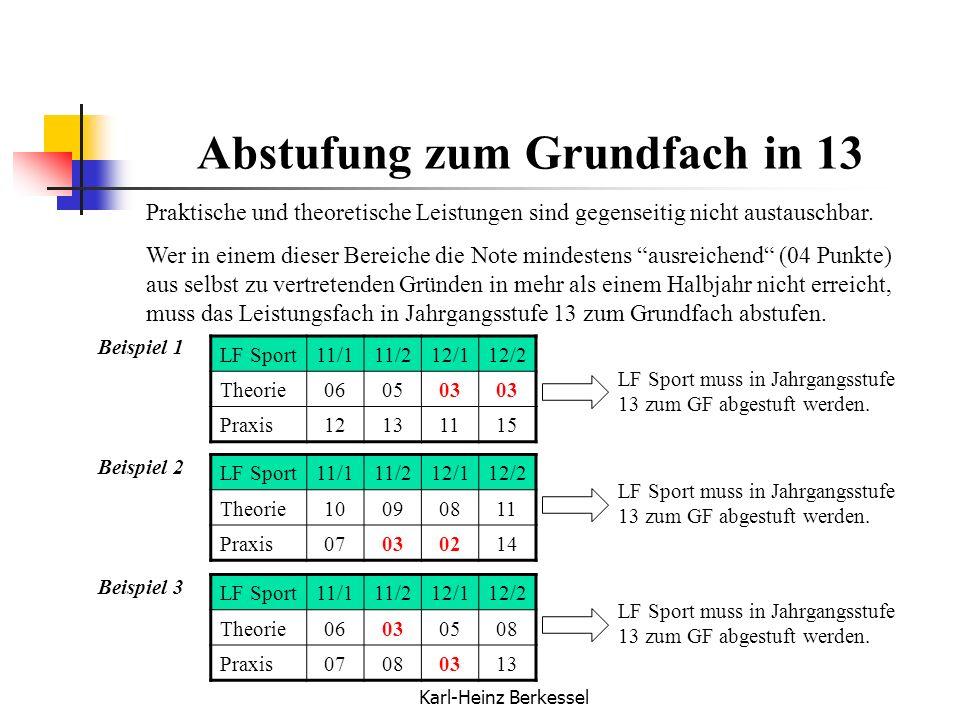 Karl-Heinz Berkessel Abstufung zum Grundfach in 13 Praktische und theoretische Leistungen sind gegenseitig nicht austauschbar. Wer in einem dieser Ber