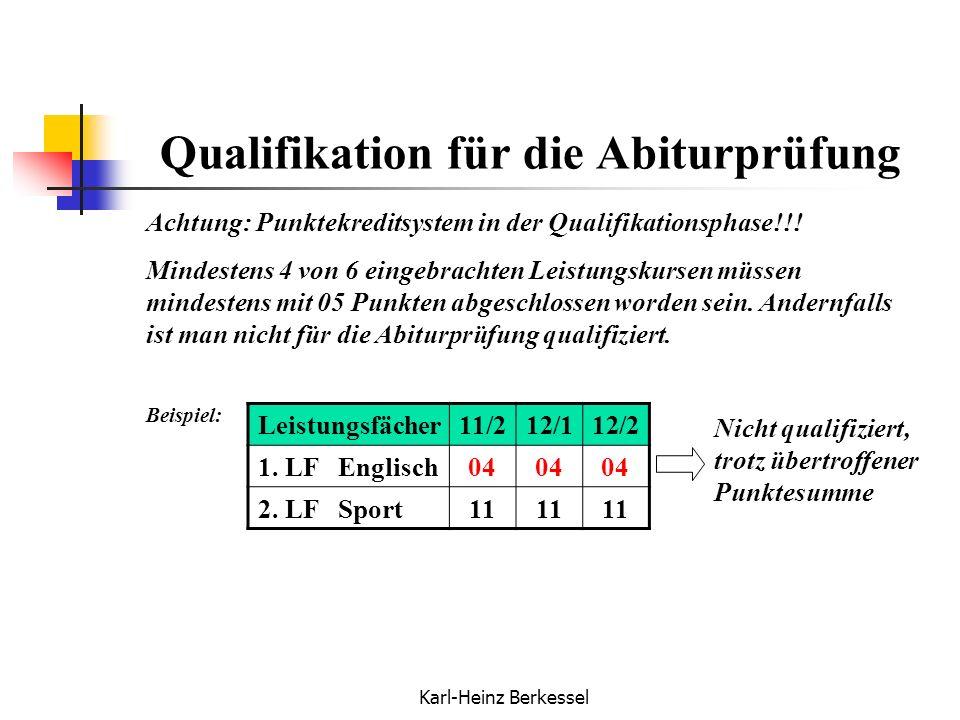 Karl-Heinz Berkessel Qualifikation für die Abiturprüfung Achtung: Punktekreditsystem in der Qualifikationsphase!!! Mindestens 4 von 6 eingebrachten Le