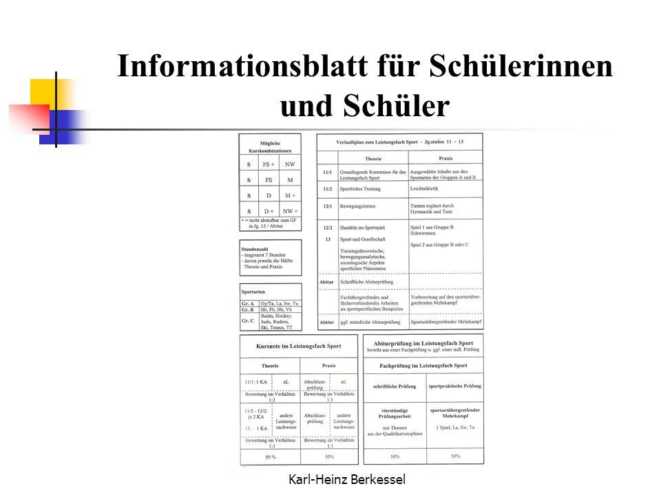 Karl-Heinz Berkessel Informationsblatt für Schülerinnen und Schüler