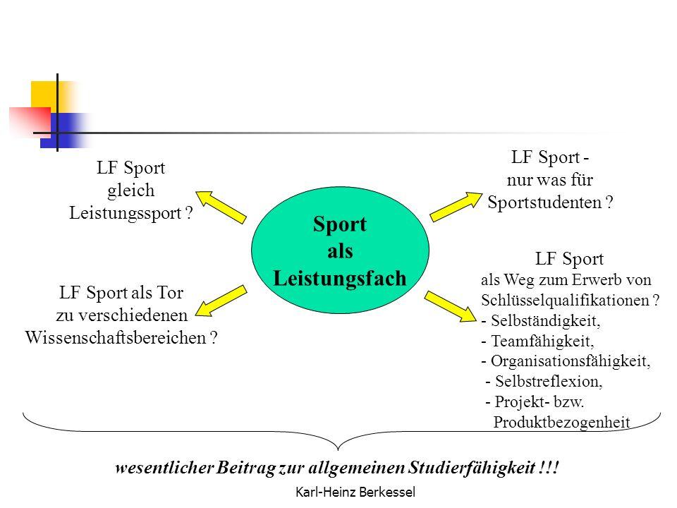 Karl-Heinz Berkessel LF Sport - nur was für Sportstudenten ? LF Sport gleich Leistungssport ? LF Sport als Tor zu verschiedenen Wissenschaftsbereichen