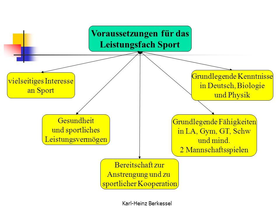 Karl-Heinz Berkessel Voraussetzungen für das Leistungsfach Sport vielseitiges Interesse an Sport Gesundheit und sportliches Leistungsvermögen Bereitsc