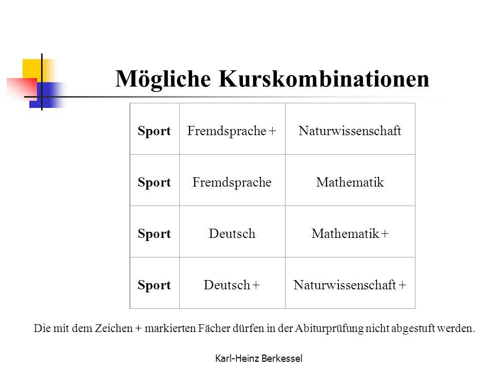 Karl-Heinz Berkessel Mögliche Kurskombinationen Die mit dem Zeichen + markierten Fächer dürfen in der Abiturprüfung nicht abgestuft werden. SportFremd