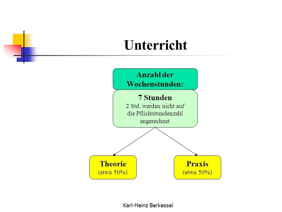 Karl-Heinz Berkessel Unterricht Anzahl der Wochenstunden: 7 Stunden 2 Std. werden nicht auf die Pflichtstundenzahl angerechnet Theorie (etwa 50%) Prax