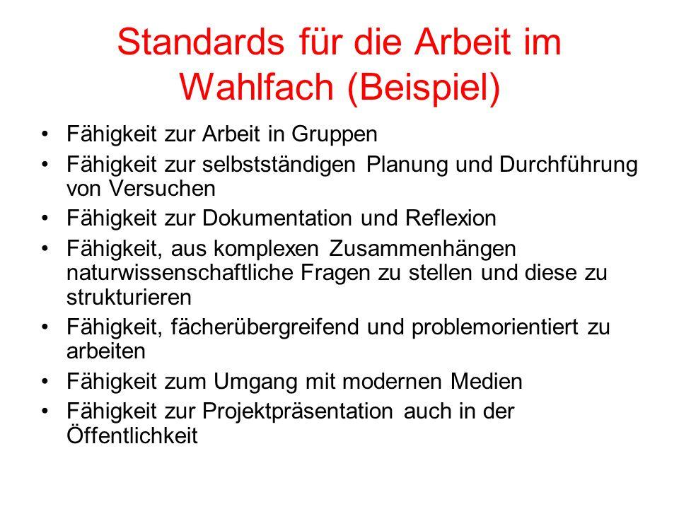 Standards für die Arbeit im Wahlfach (Beispiel) Fähigkeit zur Arbeit in Gruppen Fähigkeit zur selbstständigen Planung und Durchführung von Versuchen F