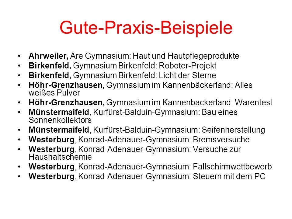 Gute-Praxis-Beispiele Ahrweiler, Are Gymnasium: Haut und Hautpflegeprodukte Birkenfeld, Gymnasium Birkenfeld: Roboter-Projekt Birkenfeld, Gymnasium Bi