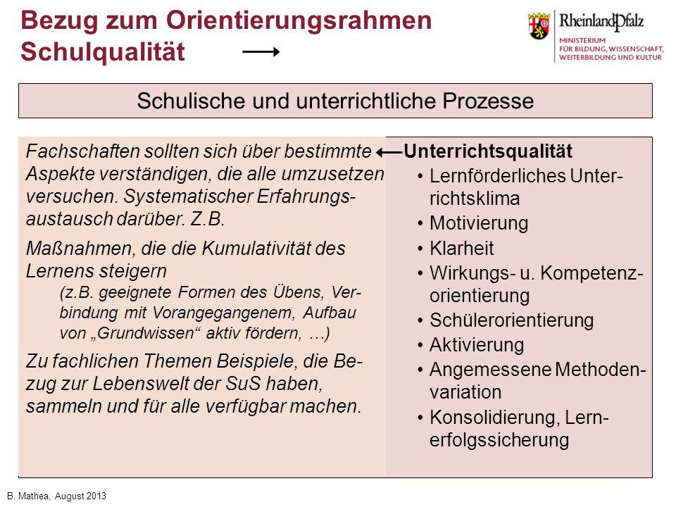 B. Mathea, August 2013 Bezug zum Orientierungsrahmen Schulqualität Schulische und unterrichtliche Prozesse Schulleitung und Schulmanagement Profession